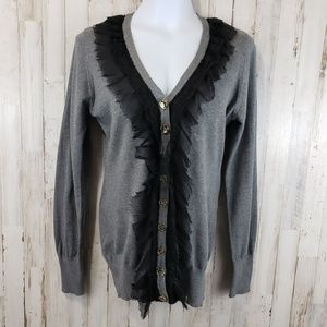 Charlotte Tarantola Womens Cardigan Sweater L Gray